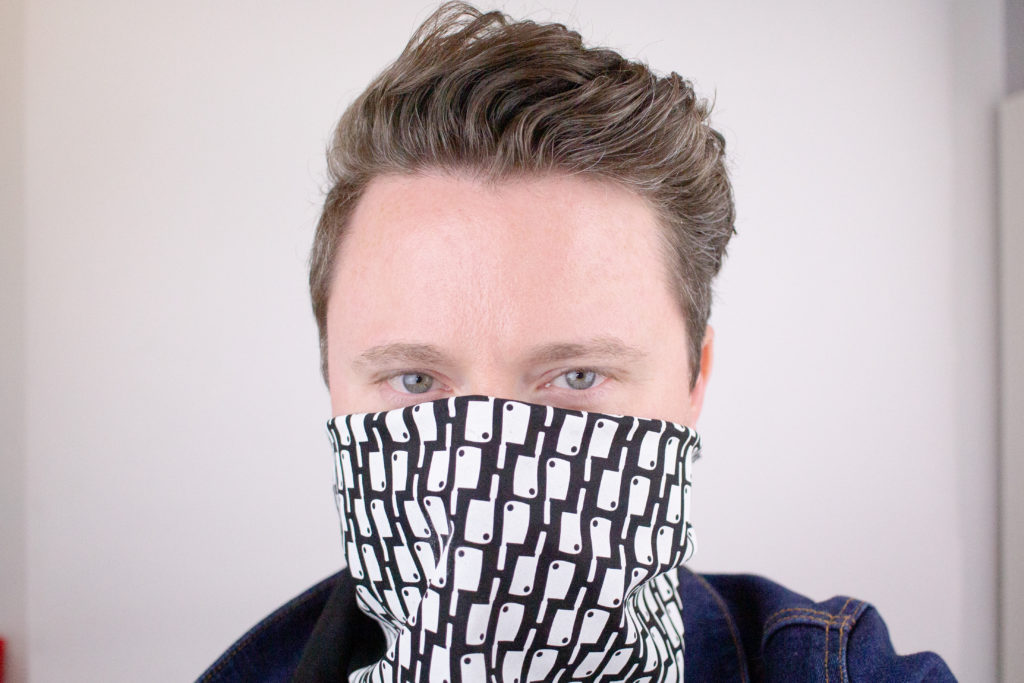 A bandana wrapped around the face as a mask.